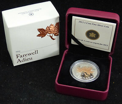 2012 Canada 1 Cent Fine Silver Coin Farewell To The Penny