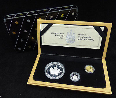 1989 Canada 5$ Dollars Fine Silver, Gold & Platinum 3 Coins Set Maple Leaf Issue