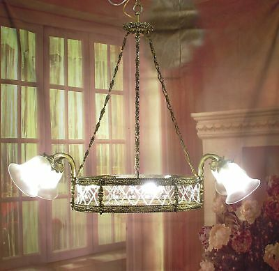 Antique Vintage Chandelier Bronze Oval Crystals 8 Light Glass Shades Fixture