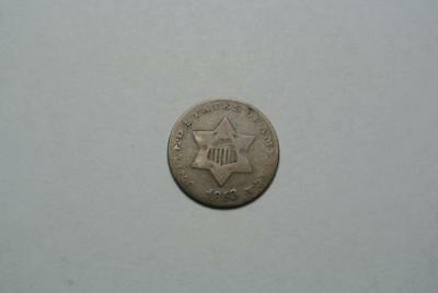 1853 Three, 3 Cent Silver Piece, VG Condition - C4403