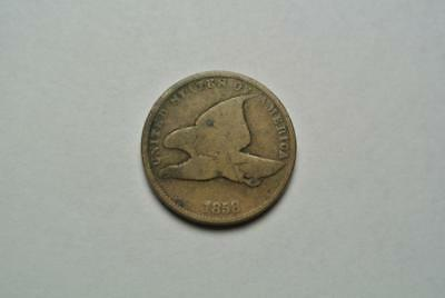 1858 Flying Eagle One Cent Coin, Small Letters, Good/VG Condition - C4395