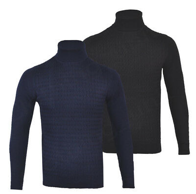 Mens Cotton Rich Roll Turtle Polo Funnel Neck Jumper Cable Knit S-2XL