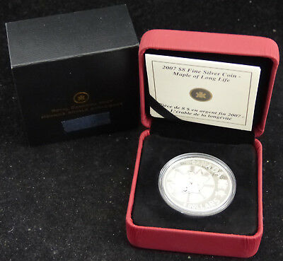 2007 Canada 8$ Dollars Fine Silver Coin Maple Of Long Life