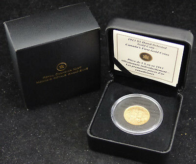 1913 Canada 5$ Dollars .900 Gold Coin Canada's First Gold Coin