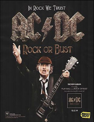 AC/DC 2014 Rock or Bust Play Ball ad 8 x 11 advertisement print ready to frame