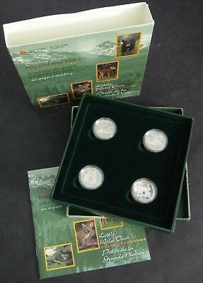 1996 Canada 50 Cents Set Of 4 Sterling Silver Coin Little Wild Ones
