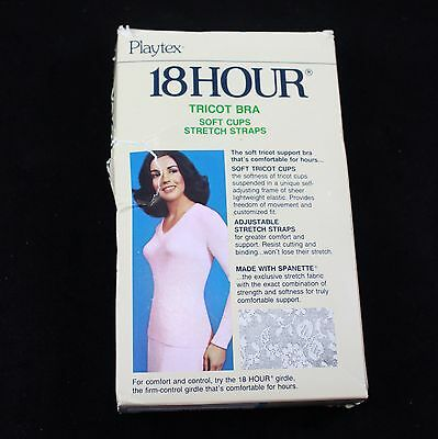 NOS Vintage Playtex 18 Hour White Lace Tricot Bra 42C in Box Soft Cups