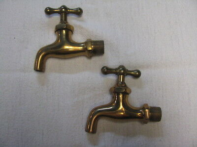 2 Vintage United Brass Faucet Spigot with T Handle Steampunk Arts & Crafts NOS