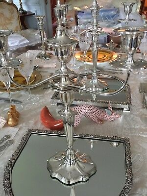 Pair of Antique English Silver Plate Candelabra - Hallmarked