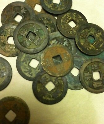 TwoAncient Chinese Bronze Coins from Tang Dynasty (618 - 907 AD)