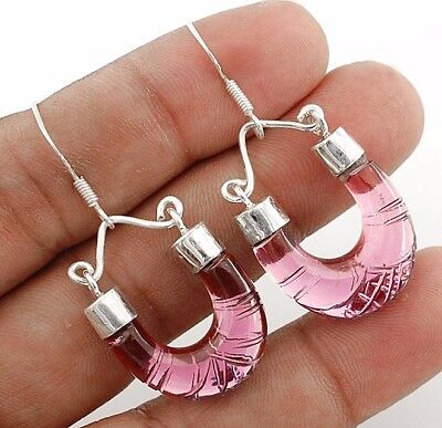 """16CT Hand Carved Amethyst 925 Solid Sterling Silver Earrings Jewelry 1 3/4"""" Long"""