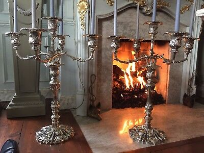 Enormous Pair of Antique French Rococo Style Silver Plate Candelabras