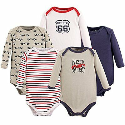 NEW Lot (5) BOYS LONG SLEEVE BODYSUITS One Piece Baby 6-9 Mo. Luvable Friends