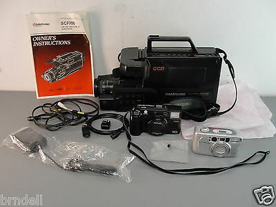 Samsung Scf501 Vhs Camcorder Maxima 1350 Ti Minolta Freedom Tele 35Mm Camera Lot