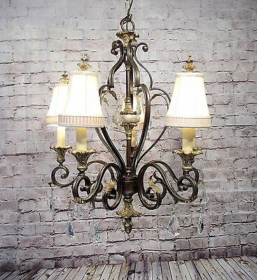 Vintage Style Large Iron Chandelier 5 Light Fixture Leafy W/ Shades Grand