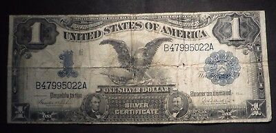 1899 One Dollar $1 Black Eagle Silver Certificate- Good Few Stains