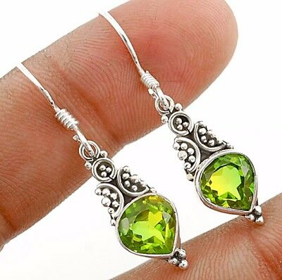 3CT Double Color Tourmaline Quartz 925 Sterling Silver Earrings Jewelry
