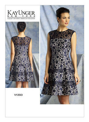 Vogue Sewing Pattern 1393 Misses 14-22 Dress With Flared Skirt & Fitted Bodice