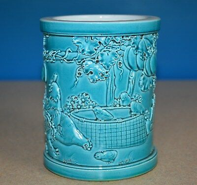 Delicate Chinese Monochrome Porcelain Brush Pot Marked Qianlong Rare K0681