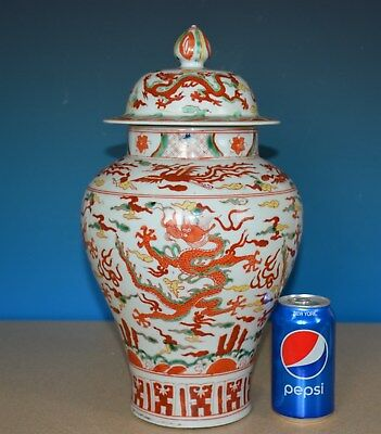 Magnificent Large Chinese Doucai Porcelain Vase Marked Wanli Rare F9367