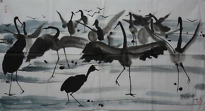 Ultra Rare Large Chinese Abstract Painting Signed Master Wu Guanzhong N7897