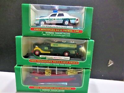 nice lot of 3  mini hess trucks 2000  and 2002 and 2003