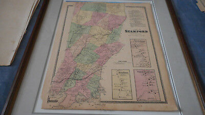 Stamford Connecticut Map 1867 Color F.w.beers Map  14 1/2 X 17 1/2