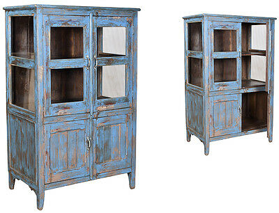 Antique Old Teak Hand Painted Blue Wood Cabinet,56''H.