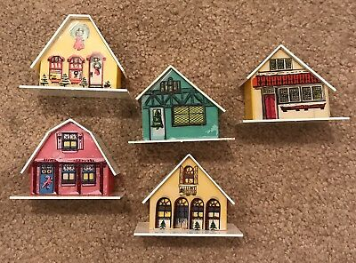 Vintage Lot Of 5 CHRISTMAS Putz Style PLASTIC LIGHT UP ALPINE VILLAGE Houses