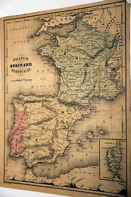 1866 Mcnally Beautiful Antique Atlas Map Of Spain-France-Handcolored