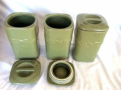 3 SAGE GREEN Canister Set Large Longaberger New in Box 70 ounces