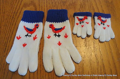 Charming Vintage 50's 60's Dolly & Me White Gloves w Blue Cuffs & Little Birds
