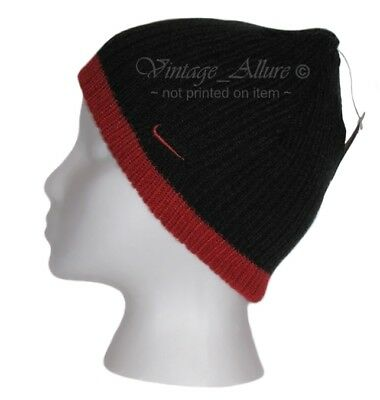NEW Child's NIKE Swoosh Skull Beanie Hat Black & Red size 4 -7 $19