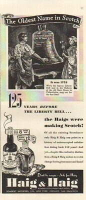 1939 Haig & Haig Five Star Scotch Whiskey~Pinch Whisky Bottle~Liberty Bell Ad