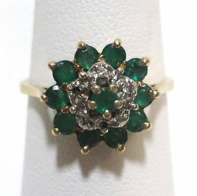 Vintage Estate 10k Yellow Gold Emerald & Diamond Cluster Ring 2.9g Size 8.5
