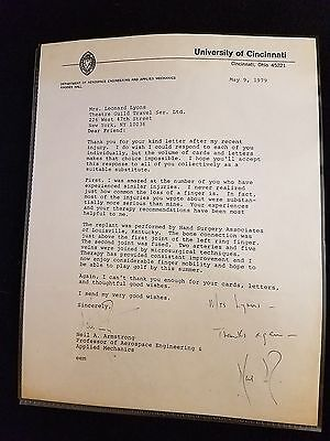 NASA Apollo 11 Neil Armstrong signed Letter Thanking for their concern