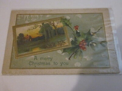 1909 Alo A Merry Christmas To You Farm House & Holly Heavy Embossed Postcard