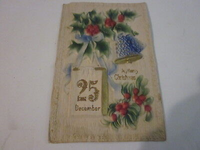 1900'S T.i.c Ecember 25Th A Merry Christmas Holly Bells Heavy Embossed Postcard