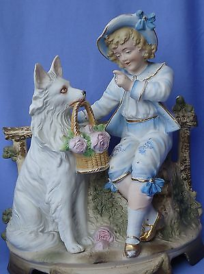 Antique Samoyed Spitz White German Shepherd & Boy Figurine 11""