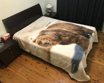 Thick Winter Queen Size Mink Blanket Quilt 200cm x 240cm - Grizzly Bear