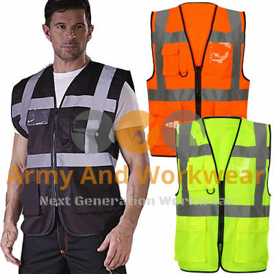 Hi Viz Executive Vest High Visibility Work Waistcoat Mens Ladies Vis Safety Top
