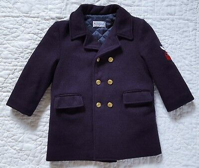 Imp Original Navy Blue Wool Dress Coat Pea Double Breasted Brass Buttons Boy 4 5
