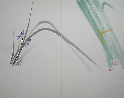 JAPANESE PURPLE ORCHID 'RAN' : ORIGINAL Vintage Japanese Zen Gado Brush Painting