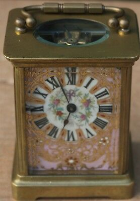 Very Dirty But Very Pretty Looking Brass Carriage Clock With Porcelain Panels
