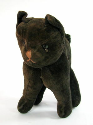 Rare Antique Early  Animal Hard Stuffed Black Cat Not Marked