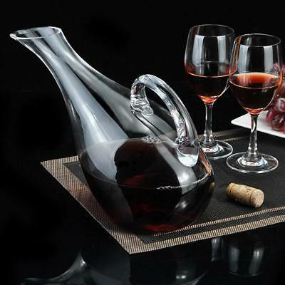 Wine Decanter 50oz Oblique Mouth Lead Free Crystal Glass Carafe With Handle