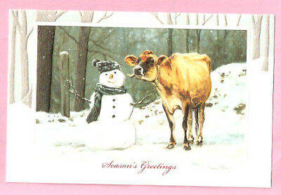 Cow Jersey Snowman Embossed Christmas Cards Box of 16 Well Hello There