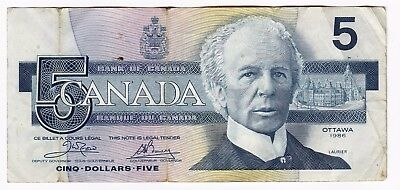 1986 Canada $5 Five Dollars Bank Note