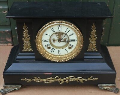 Large Old Black Iron Ansonia Mantel Clock With Visible Movement