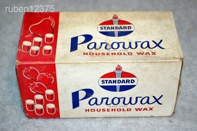 Vtg Sealed Standard Oil Parowax Household Wax Box, 4 Paraffin Cakes Advertising